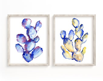 Cactus Prints, Watercolor Cacti Set of 2, Wall Art