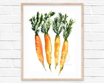 Carrot Watercolor Print, Root Vegetable, Kitchen Wall Art