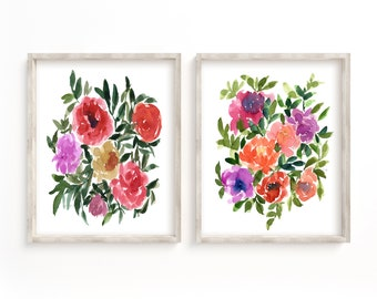 Flower Print Set of 2 Watercolor Floral Wall Art Decor