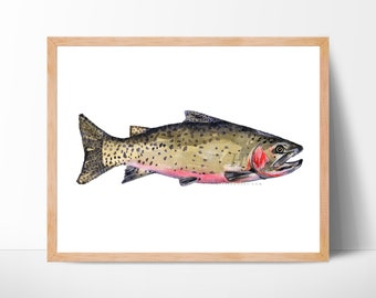 fly fishing art print gift for him kitchen decor fishing illustration fine art fish wall art rainbow trout trout art trout fish painting art