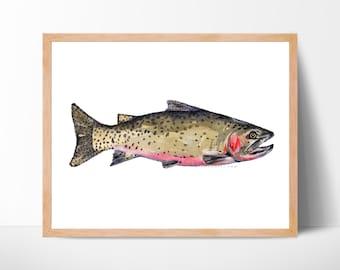 fly fishing art print gift for him kitchen decor fishing illustration fine art fish wall art rainbow trout trout art trout fish painting art