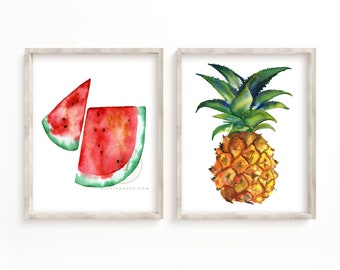 Watermelon and Pineapple Wall Art set of 2