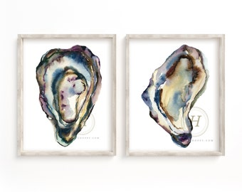 Oyster Watercolor Art Print set of 2