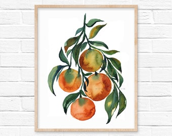 Watercolor Oranges Print