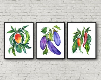 Mango, Eggplant, Jalapeno print set of 3 Peppers Painting, Kitchen Wall Art, Watercolor Art, Restaurant Decor, Cook Print, Veggies prints