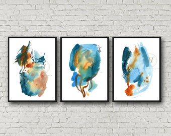 Abstract Blue Watercolor Print Set of 3 Watercolor Art