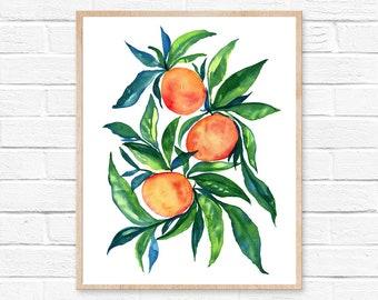 tangerine orange watercolor painting art wall art home decor original art watercolor paintingwatercolor print tangerines art  clementine art