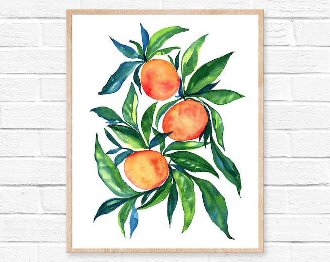 Featured listing image: tangerine orange watercolor painting art wall art home decor original art watercolor paintingwatercolor print tangerines art  clementine art