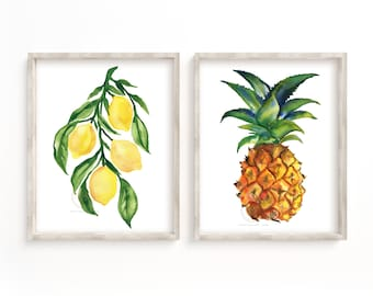 Fruit Watercolor Prints set