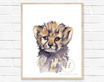 Cheetah Animal, Watercolor Print, Nursery Art, Cheetah Painting, Baby Animal, Safari Nursery
