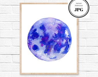 Full Moon Watercolor Painting Abstract Minimalist Moon Drawing Home Illustration Space Art Print Solar System Blue and Purple Wall Decor