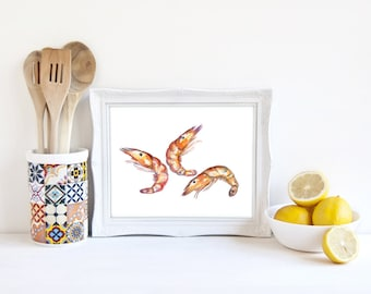 Shrimp Print, Shrimp Art, Food Decor, Cooking Art, Shrimp Watercolor