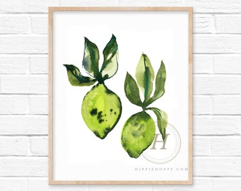 Limes Watercolor Prints Kitchen Art by HippieHoppy