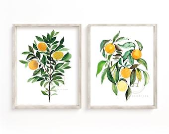 Orange Trees Watercolor Art Prints set of 2 by HippieHoppy