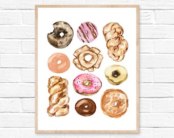 donut watercolor doughnut donut watercolor donuts donut art painting donut print sprinkles kitchen art donut painting doughnuts watercolor