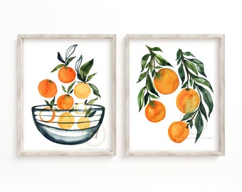 Oranges Watercolor art Prints set of 2 by HippieHoppy