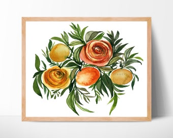 Flowers and Oranges Watercolor Print by HippieHoppy