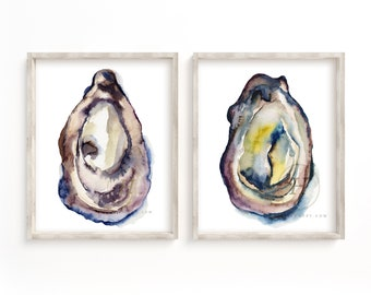 Colorful Oysters Waterclor Print set of 2 by HippieHoppy