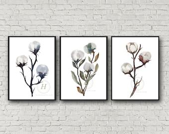 Cotton Watercolor Art Prints set of 3