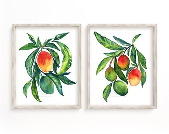 Mangos Prints, Set of 2, Watercolor Mango Art