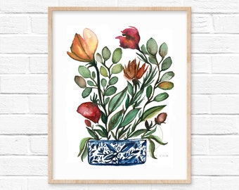 Flowers in Jar Watercolor Print by HippieHoppy