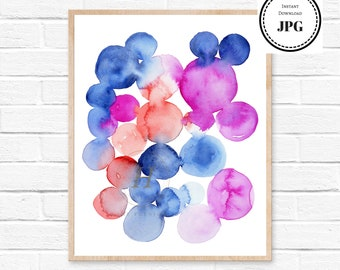 watercolor bubbles, abstract painting watercolor print, pink bubbles, nursery room decor, printable art print, watercolor painting, abstract