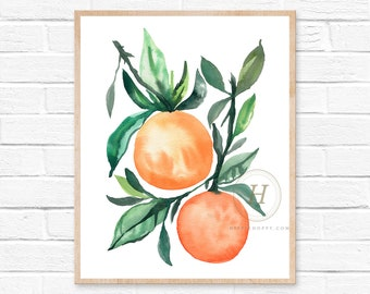 Oranges Art Print - Orange Wall Art - Fruit Wall Art - Watercolor Orange Prints - Modern Kitchen Art