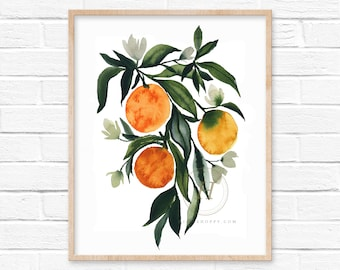 Oranges with Flowers Watercolor Print Wall Art