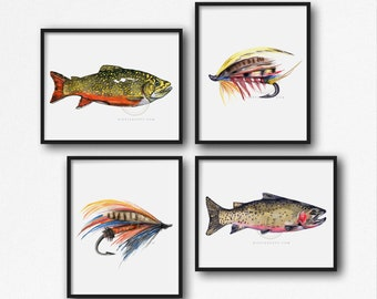 Fly Fishing Set of 4 Brook Trout, Cutthroat Trout, Fly Fishing Hooks, Fishing Gifts