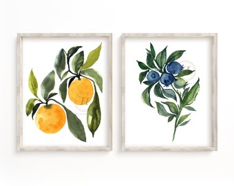 Orange and Blueberry Watercolor Print Set of 2