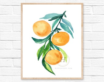 Tangerine Orange Watercolor Print