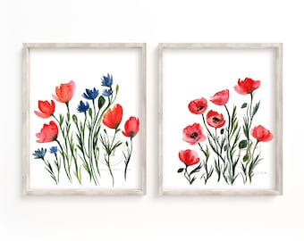 Poppy Wall Art Prints set of 2 by HippieHoppy
