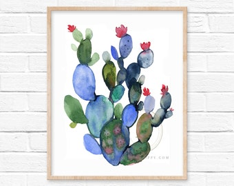 Large Cactus Watercolor Print Wall Artwork by HippieHoppy