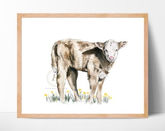 Calf Watercolor Painting, Farm Animal, Nursery Art