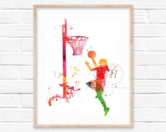 Large Girl Basketball Watercolor Print