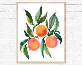 Oranges Watercolor Print