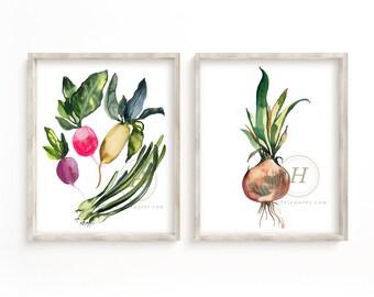 Vegetable Watercolor Prints set of 2
