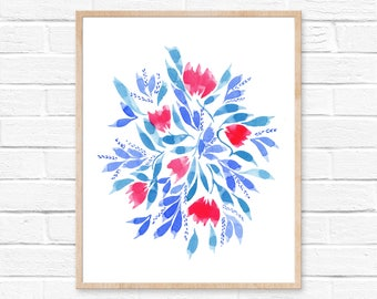 Floral Watercolor Print No.33, FLower Print, Watercolor Art, Watercolor Floral Illustration, Artwork, Flower Painting, Abstract Watercolor