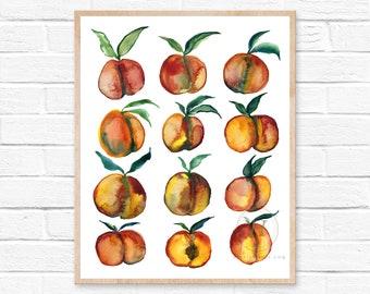 Peaches Prints, Watercolor Peach, Modern Art by HippieHoppy