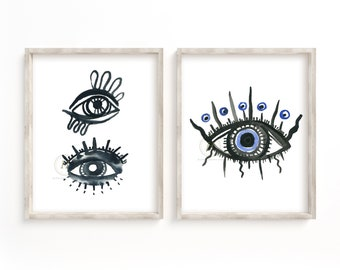 Evil Eyes Print, Set of 2, Karma Print, Protection Talisman, Bathroom Print, Evil Eye Wall Art, Evil Eye Wall Decor, Protection Amulet