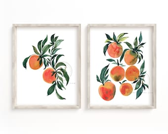 Oranges Watercolor Prints Set of 2 by HippieHoppy
