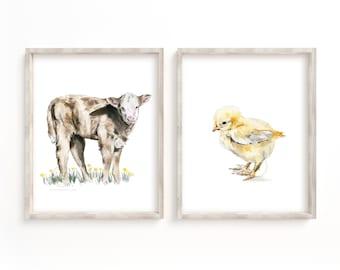 Set of 2 Farm nursery prints, Nursery decor, Farm animals decor, Baby animals, Nursery art Animal prints for Nursery