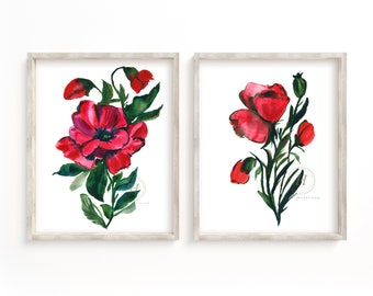 Poppy Watercolor Prints set of 2 by hippiehoppy