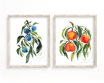 Blueberries and Peaches Watercolor Art Prints set of 2 by HippieHoppy Unframed