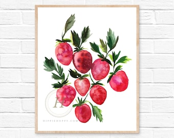 Strawberry Botanical Watercolor Print