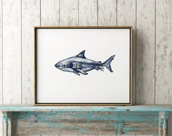 Great white print, Watercolor shark, Wall art