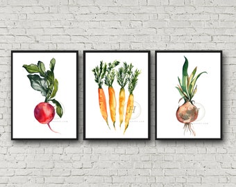 Watercolor Vegetables Prints, Set of 3