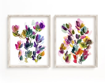 Colorful flowers print, Set of 2, Wild Flowers painting, Wall decor