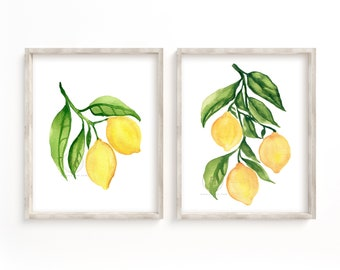 Lemon Watercolor Print Set of 2 Kitchen Wall Art