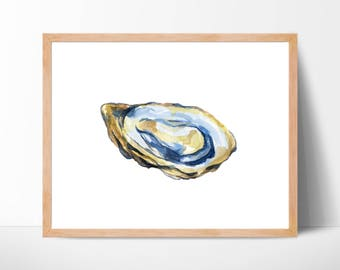 Oyster Watercolor No. 102, Oyster Shell Print, Beach Art, Oyster Painting, Coastal Art, Oyster Shell Decor, Beach House Decor, Oyster Decor
